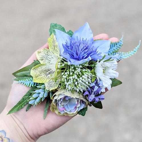 Blue, Green & White Hair Flower