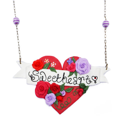 Sweetheart Tattoo Art Heart Necklace