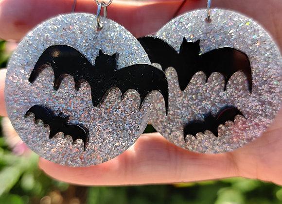 Bats and silvery moon earrings