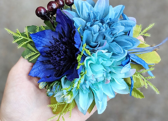 Blue Trio & Berries Hair Flower