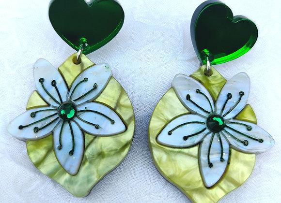 Lemon heart earrings