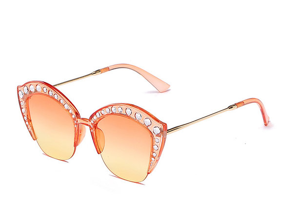 Sparkling Cat Eye Retro Frame Sunglasses With Case
