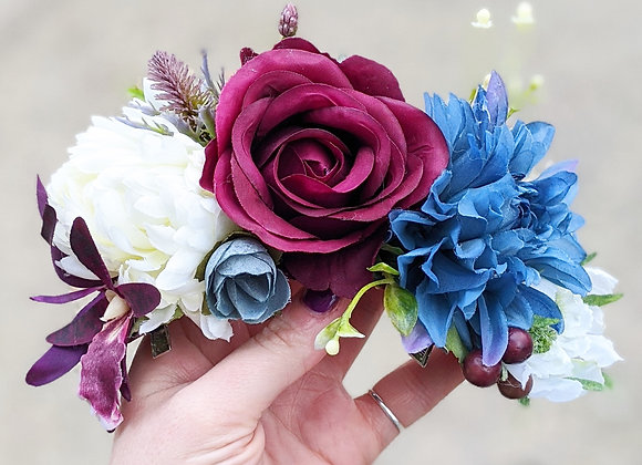 Blue, White & Burgundy Hair Flower / Flower Crown