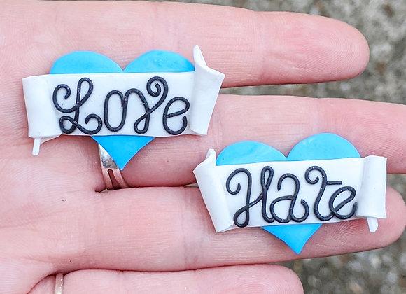 Blue Love Hate Brooch Pair