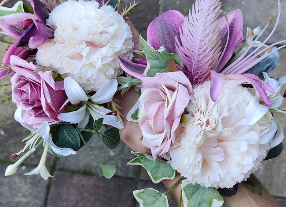 Magenta/lilac corsage hairflower