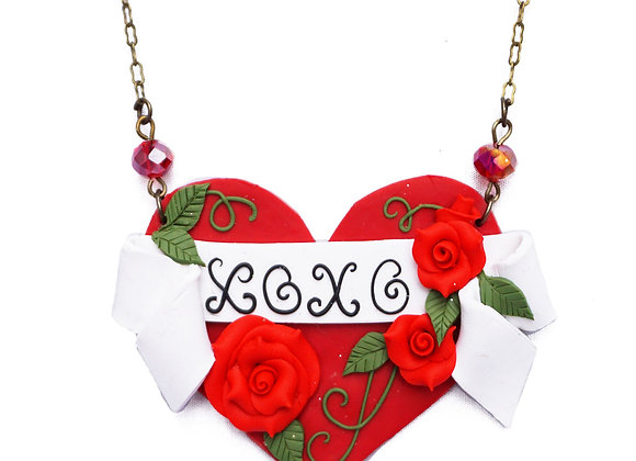 XOXO Tattoo Art Heart Necklace