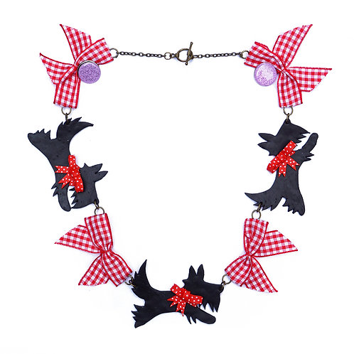 Scottie Dog & Red Gingham Bows Necklace
