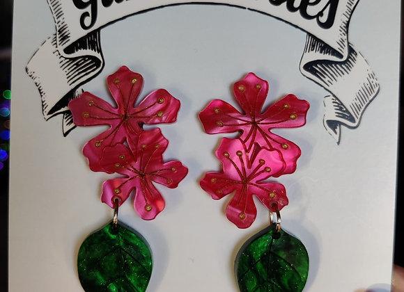 Deep Pink Cherry Blossom Earrings