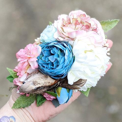 White, Pink & Blue Bird Bird Hair Flower