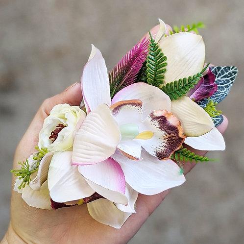 Cream & Pink Hair Flower