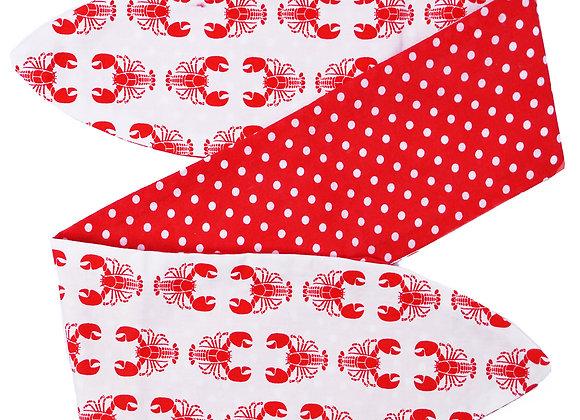 Red Lobster & Polka Dots Tie Head Scarf