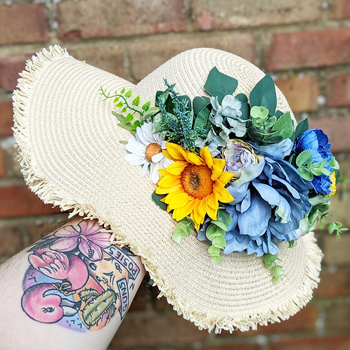 Blue & Yellow Flower Sun Hat