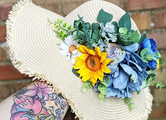 Blue & Yellow Flower Sun Hat