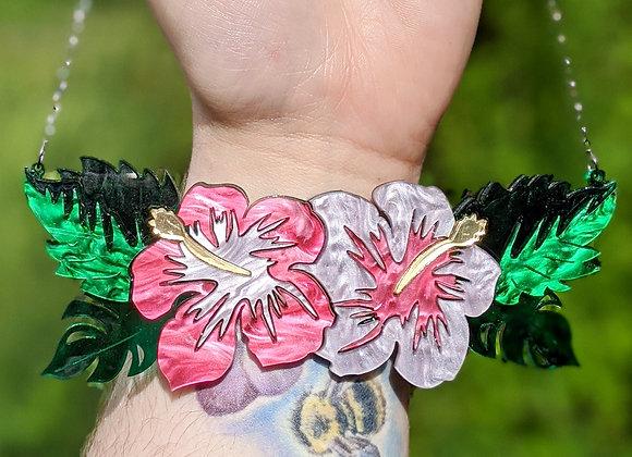 Pink Hibiscus Necklace