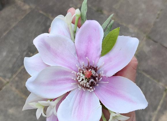 Pink Stripe magnolia hair clip