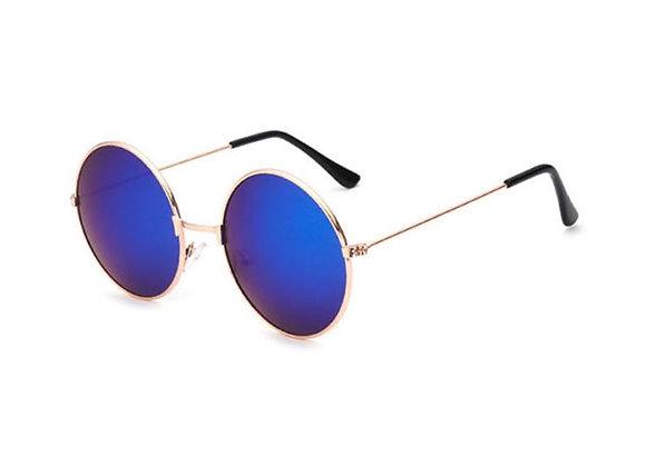 Blue Round Retro Frame Sunglasses With Case