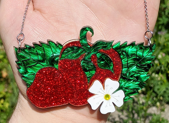 Double Strawberry Glitter Necklace