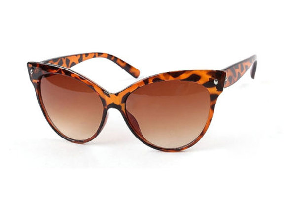 Leopard Print Cat Eye Sunglasses With Case