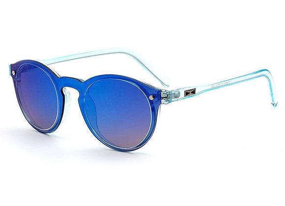 Blue Mirrored Retro Frame Sunglasses With Case