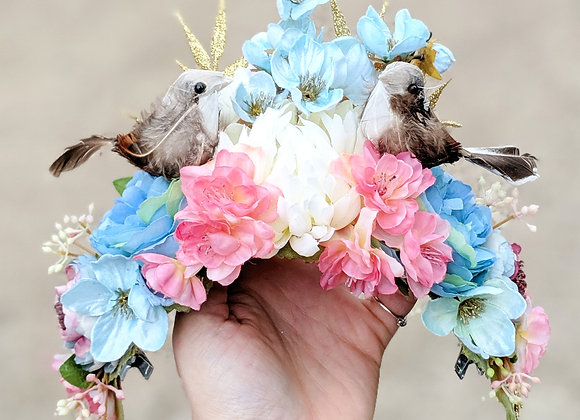 Pink & Blue Birds Hair Flower / Flower Crown