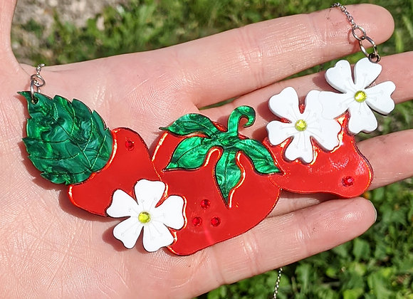 Triple Strawberry Mirrored Necklace