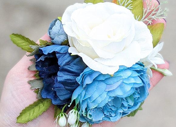 Blue & White Hair Flower