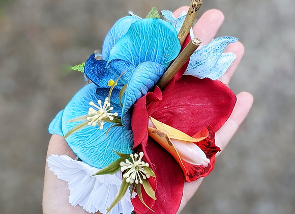 Red & Blue Orchid Hair Flower