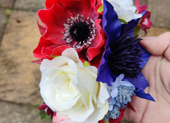 Royal blue clematis double hair clip