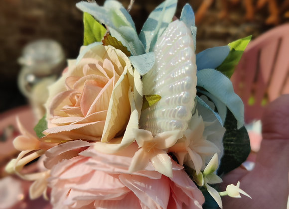 Silk flower and shell clip