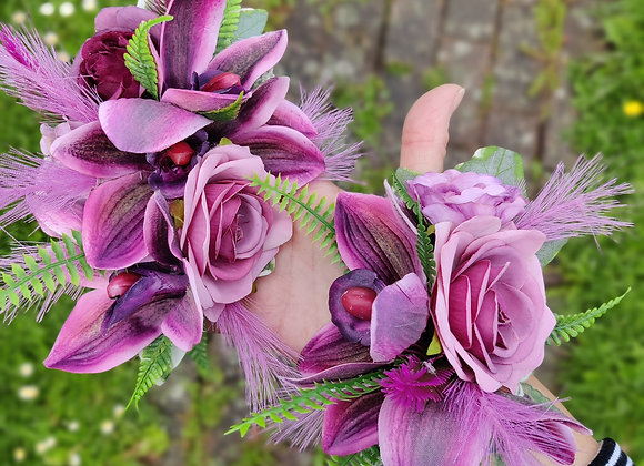 Blackberry orchid corsage set