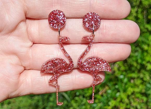 Glitter Pink Flamingo Earrings