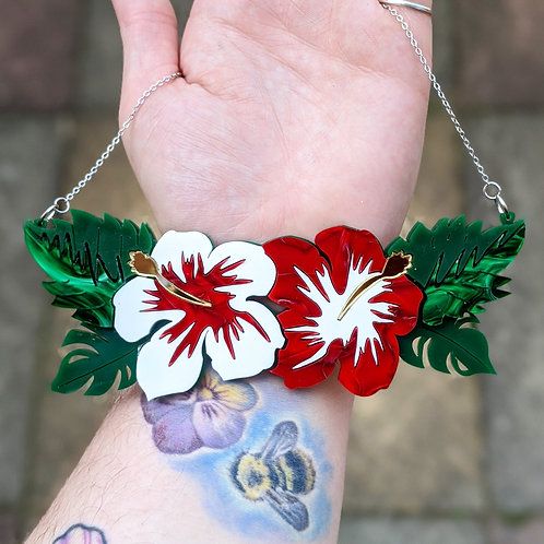 White & Red Hibiscus Necklace