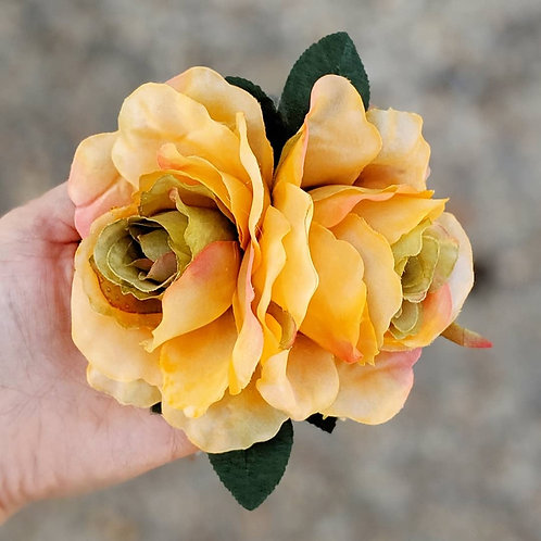 Double Orange Rose Hair Flower