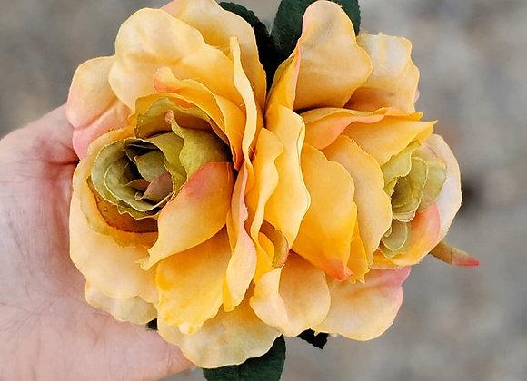 Double Orange Rose Hair Flower
