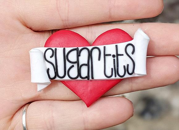 Red Sugar Tits Heart Brooch