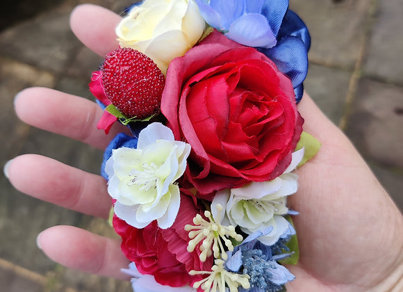 Red, white and blue strawberry hair clip