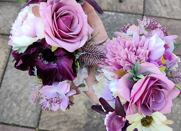 Orchids and thistle corsage set