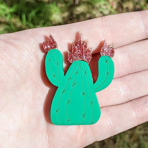 Green & Pink Cactus Brooch