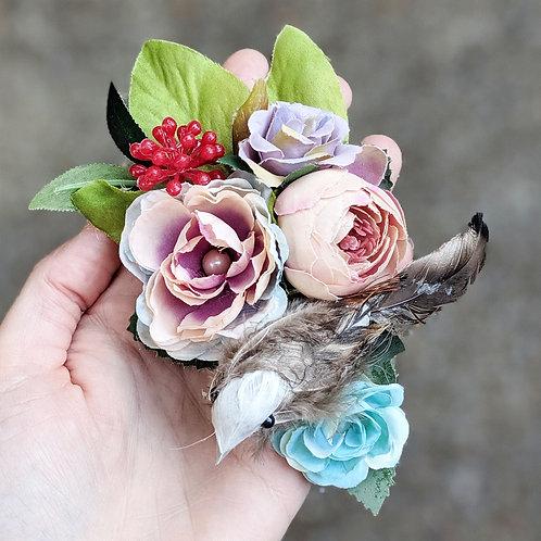 Teal & Pink Scruffy Bird Hair Flower