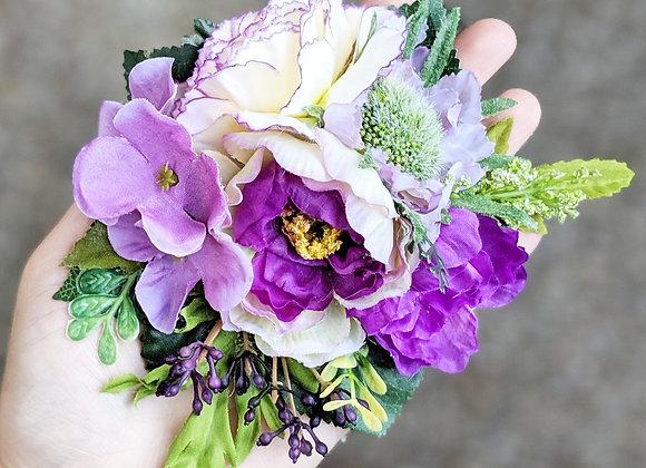 Purple & Cream Hair Flower