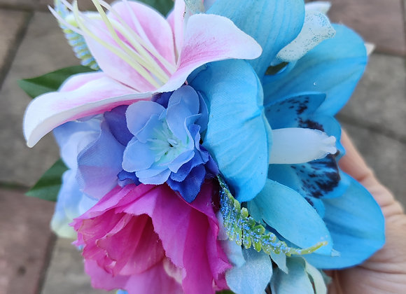 Blue orchids and pink Lily hair clip