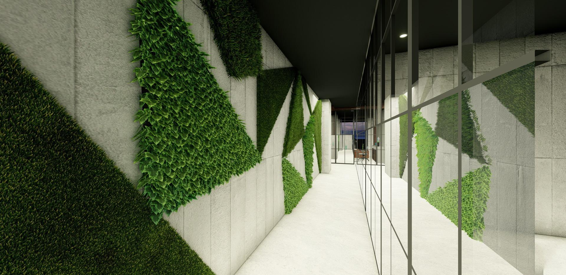 Office Hall - Green Wall