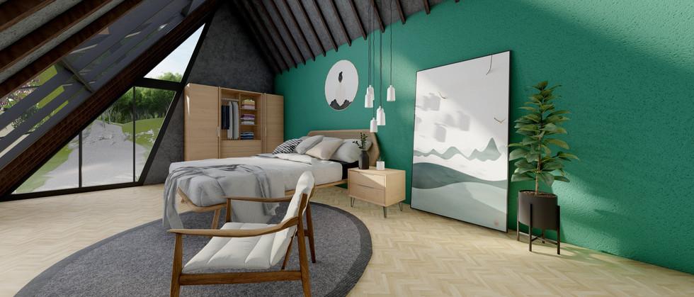Hollanda Tarzı Ev - Cam Tavan Yatak Odası