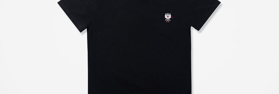 Sing Sing Rabbit Music Note Pixel Embroidery Tee (Black)