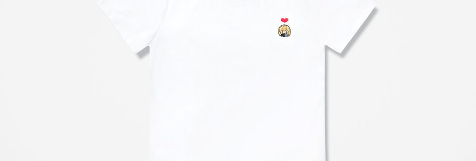 Sing Sing Rabbit Girl with Mask Heart embroidery tee (White)
