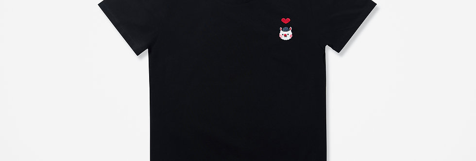 Sing Sing Rabbit Heart embroidery tee (Black)