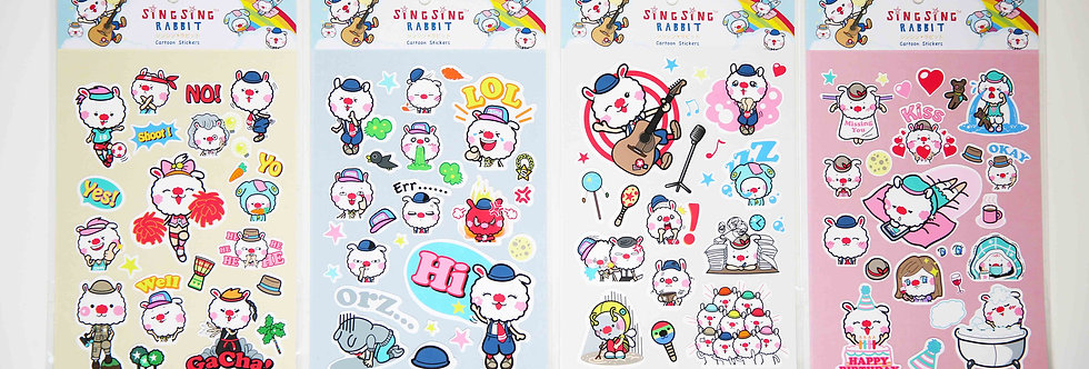 Sing Sing Rabbit cute monkey business stickers