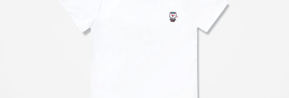 Sing Sing Rabbit Music Note Pixel Embroidery Tee (White)