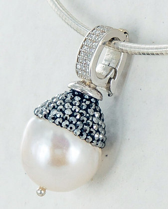 Pearl hematite cz pendant enhancer