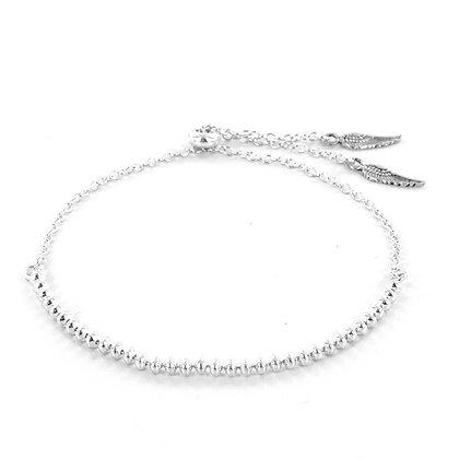 Silver beaded angel wing bracelet